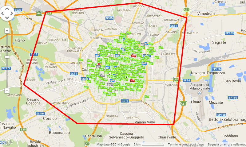 mappa bike sharing milano