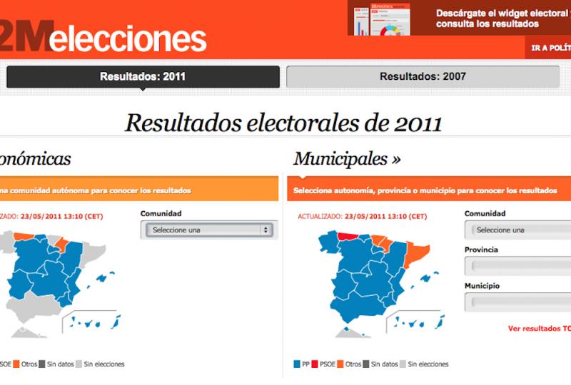 Come sono andate le elezioni del 2011 (in blu i popolari, in rosso i socialisti)