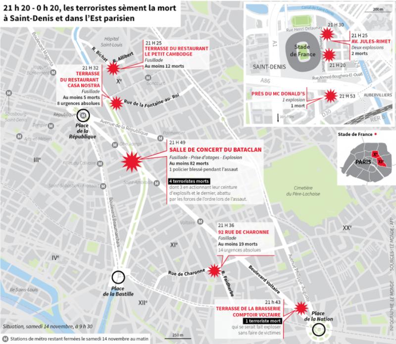 La mappa degli attentati di Parigi di Le Monde