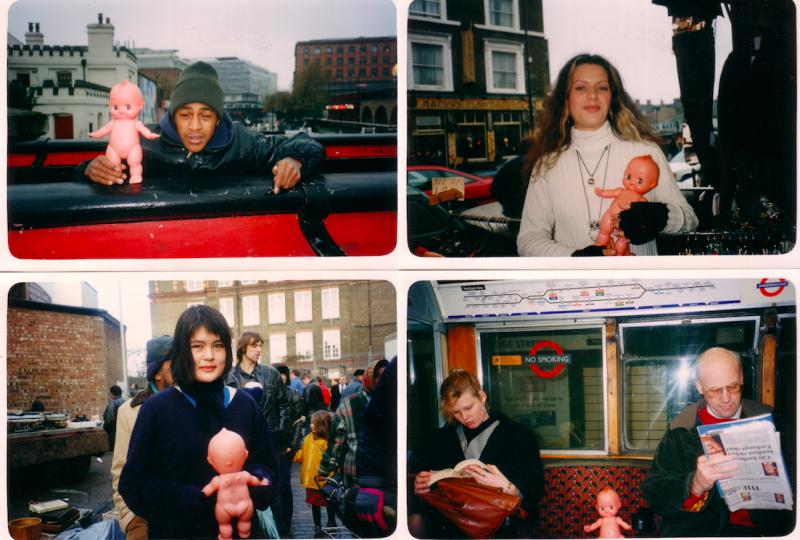 Annalisa Cattani, Benvenuto e Addio, 1995-2004. Azione, tremila scatti fotografici e due video in diversi luoghi: Berlino, Londra, Roma, Firenze, Cupra Marittima, Kassel, New York, Baghdad. Courtesy dell'artista.
