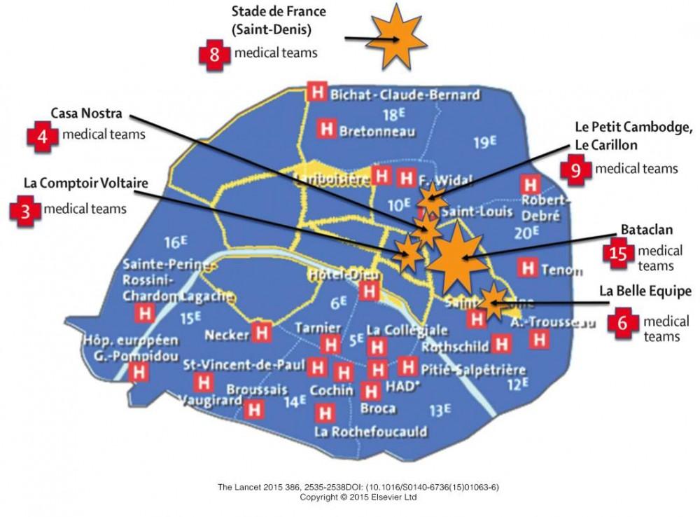 Mappa dei soccorsi agli attacchi terroristici di Parigi