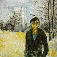 "David Bowie, ""Berlin Landscape with J.O."", 1978, acrilico su tela, 78.8 x 78.8 cm"