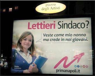 Manifesto per Gianni Lettieri (foto da Twitter)