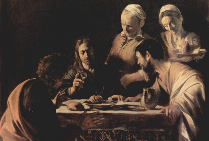 """Michelangelo Merisi detto il Caravaggio, """"Cena in Emmaus"""" , 1606, 141x175 cm, Pinacoteca di Brera"""