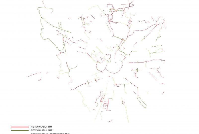 Piste ciclabili a Milano (elaborazione su mappe del Comune)