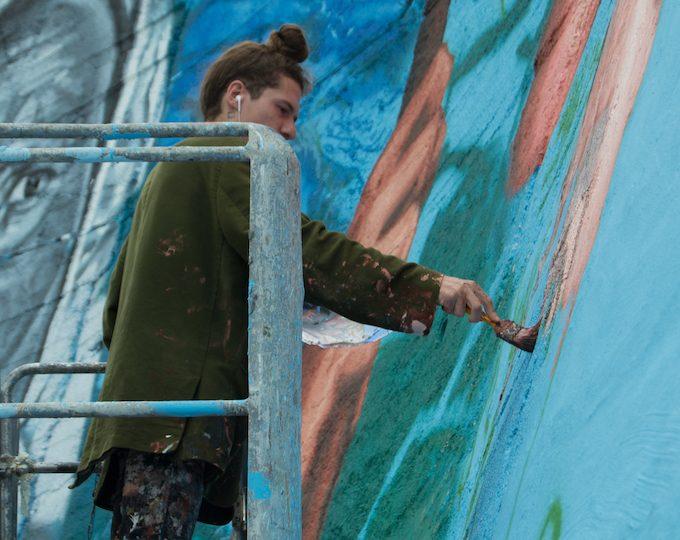 Gaia, work in progress WALL IN ART, Monno, ph Davide Bassanesi