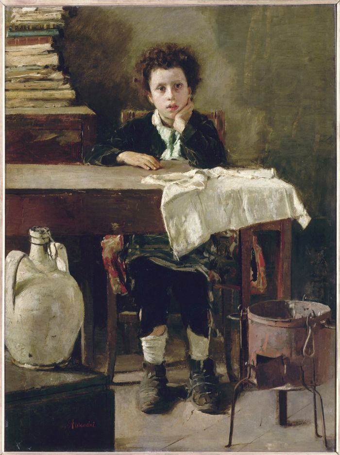 Antonio Mancini, Il piccolo scolaro (le petit écolier) 1876 c. Olio su tela. Parigi, Musée d'Orsay