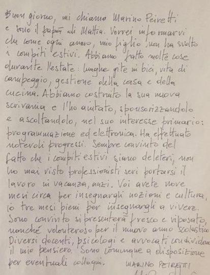 La lettera ai prof di Marino Peiretti