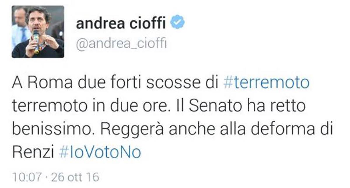 Il primo tweet di Andrea Cioffi