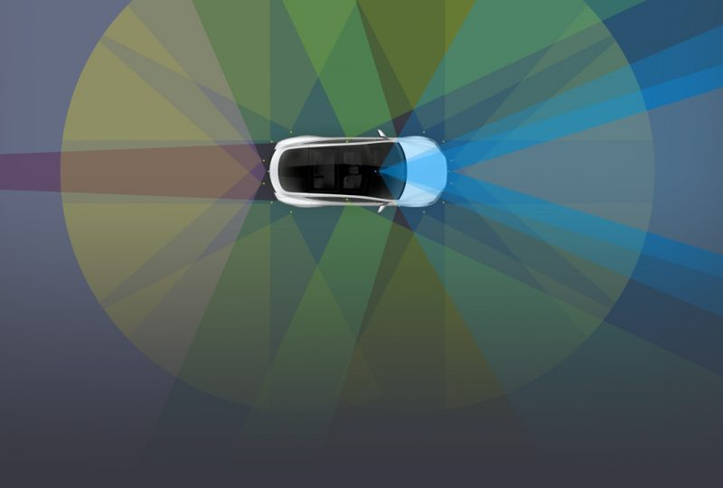 I campi di visione dei vari sensori delle nuove auto Tesla