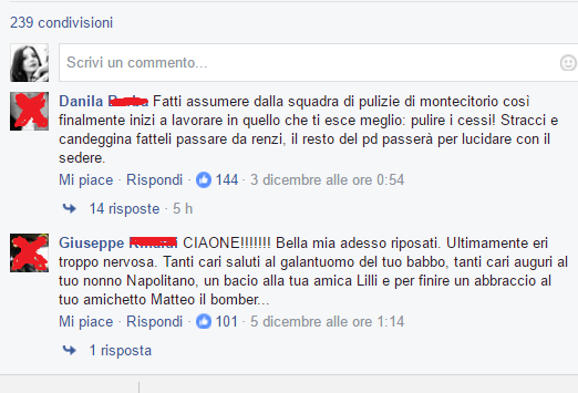 Insulti alla Boschi sulla sua pagina Facebook