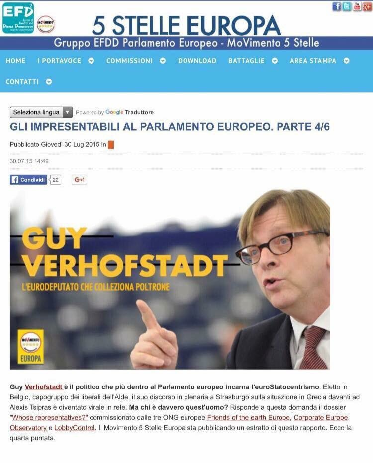 Ai grillini non piaceva Guy Verhofstadt...