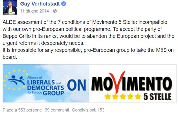 Neanche a Guy Verhofstadt piacevano i grillini...