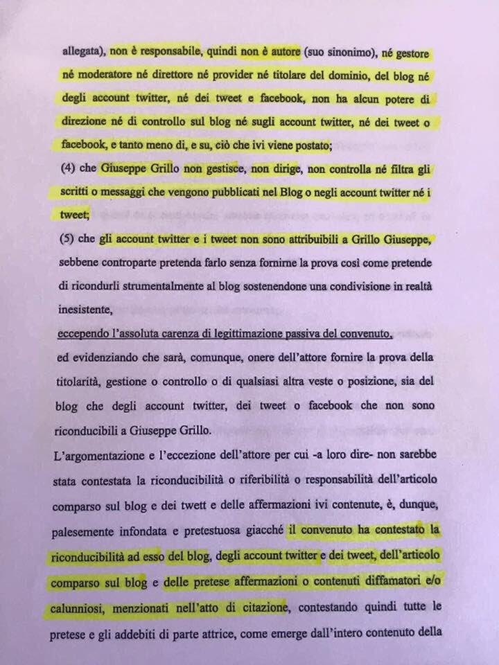 La memoria difensiva dell'avvocato di Grillo