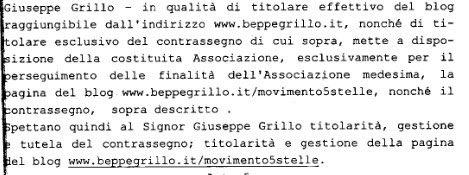 Il documento dove Grillo si dichiara titolare del suo blog