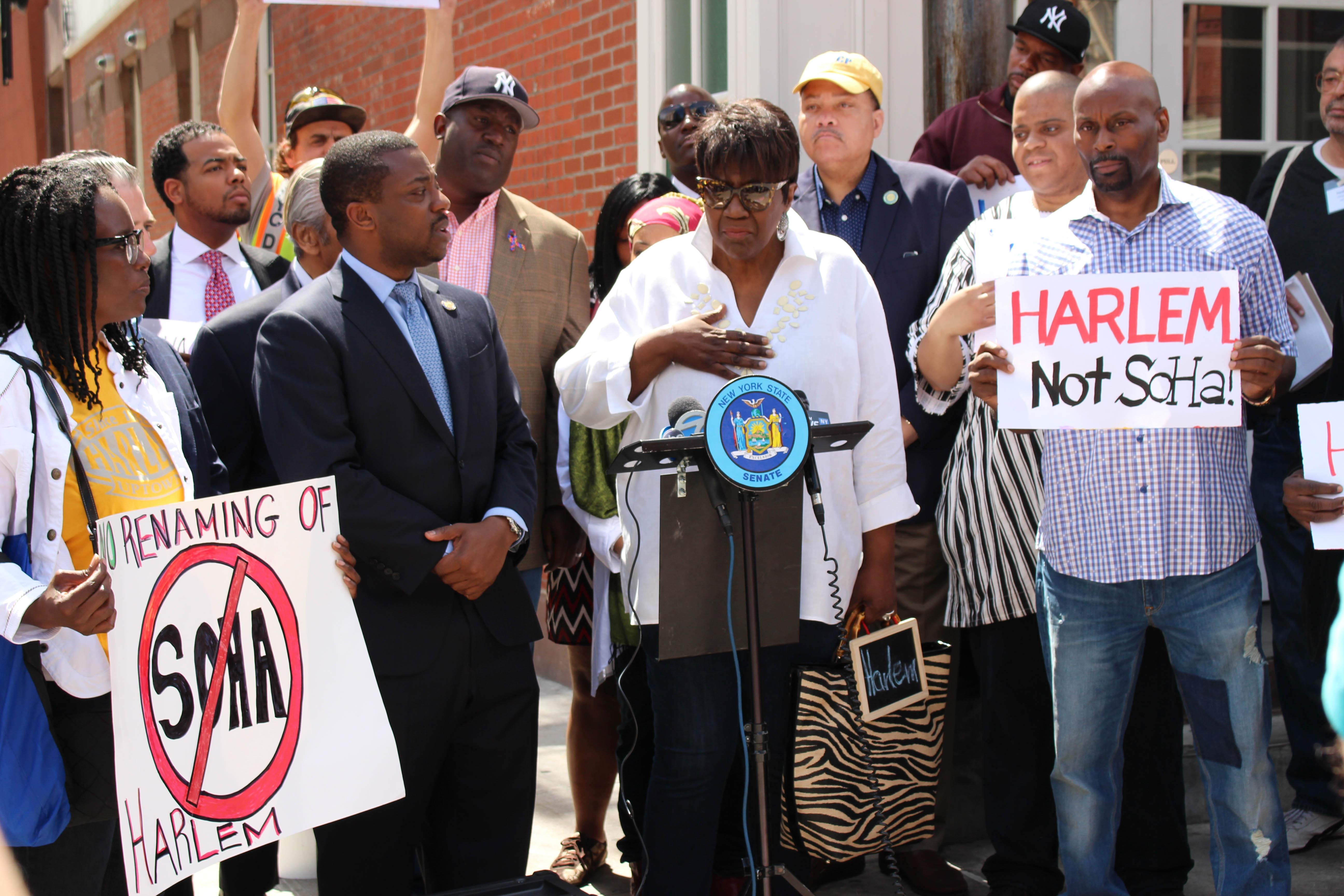 Danni Tyson parla ad una protesta contro il rebranding di Harlem. Foto di Ignacio Rullansky (2017).