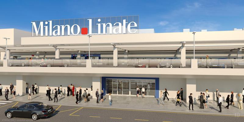 Semplice, uniforme, luminosa e bianca sarà la facciata ridisegnata da Cerri. La grande insegna di Linate verrà ricollocata sulla sinistra, libera dai cartelloni pubblicitari e più visibile anche da lontano.