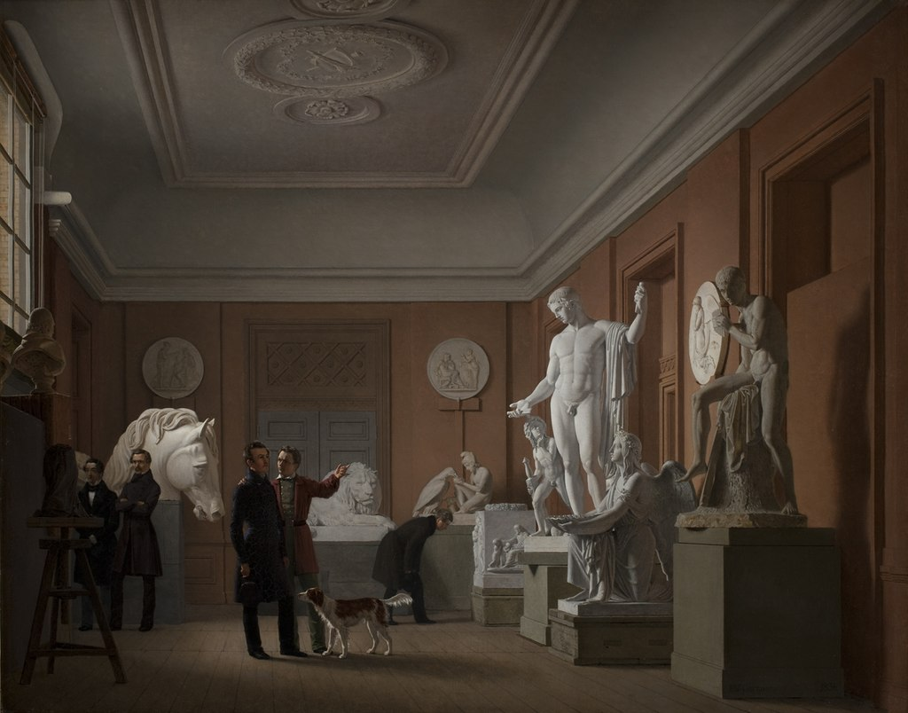 Johan Vilhelm Gertner, Lo studio di Thorvaldsen a Charlottenborg, Copenaghen, Statens Museum for Kunst, 1836, olio su tela, 64x79 cm.