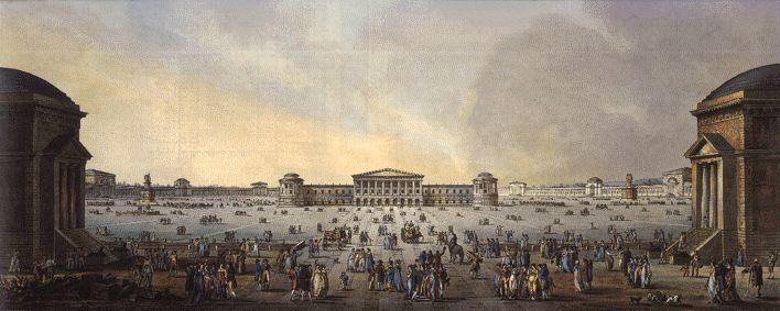 Veduta del progetto di Giovanni Antonio Antolini per il Foro Bonaparte, fronte campagna, 1801.