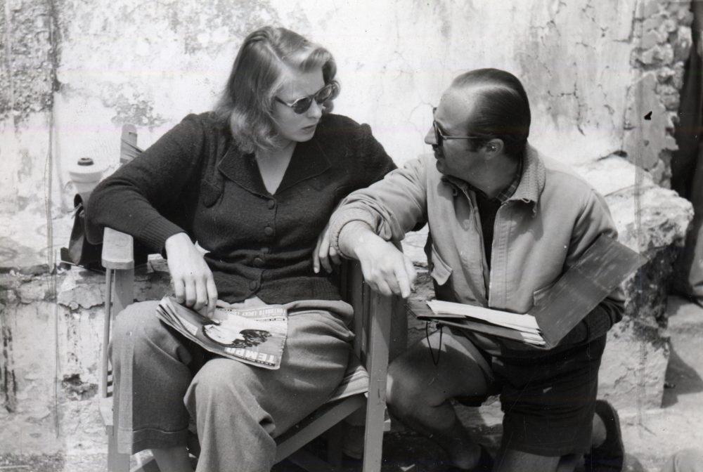 Roberto Rossellini e INgrid Bergman sul set di Stromboli