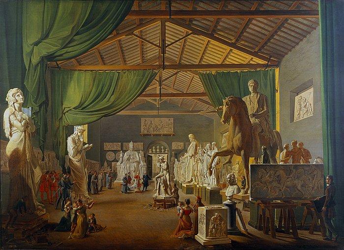 Ditlev Martens, Leone XII visita il grande atelier di Thorvaldsen nel giorno di San Luca il 18 ottobre 1826, 1830, olio su tela, 100x138 cm, Copenaghen, Statens Museum for Kunst.