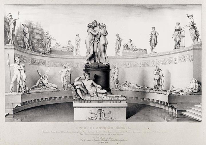 """Michele Fanoli, """"Opere di Antonio Canova. Statue gentili e amorose"""", Venezia, Parigi, Lit. Lemercier, 1841, litografia su carta velina controfondata, 530x755 mm, Milano, Biblioteca Nazionale Braidense."""