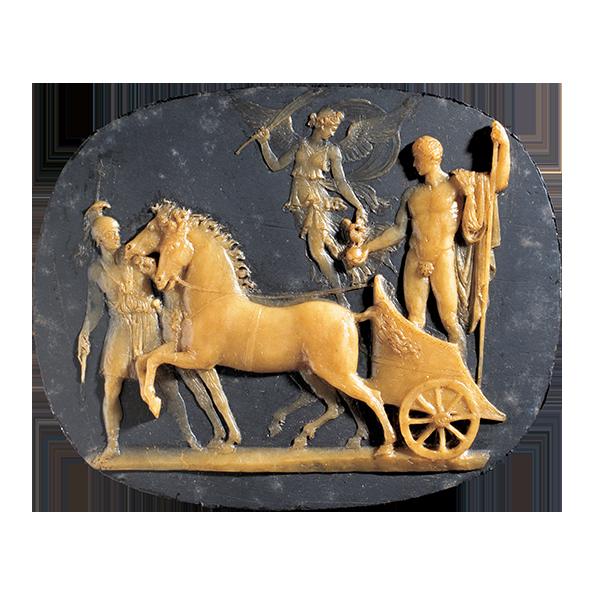 Benedetto Pistrucci,Trionfo di Napoleone Bonaparte, da Antonio Canova, ante 1815, cera gialla su ardesia, 91x113x4 mm, Roma, Museo della Zecca, Istituto Poligrafico dello Stato.